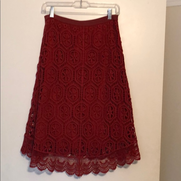 Anthropologie Dresses & Skirts - Red lace skirt
